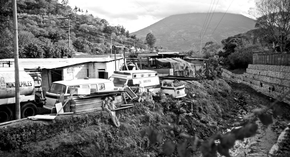 Ambulance on blocks - WBenedict - Guatemala (BW)