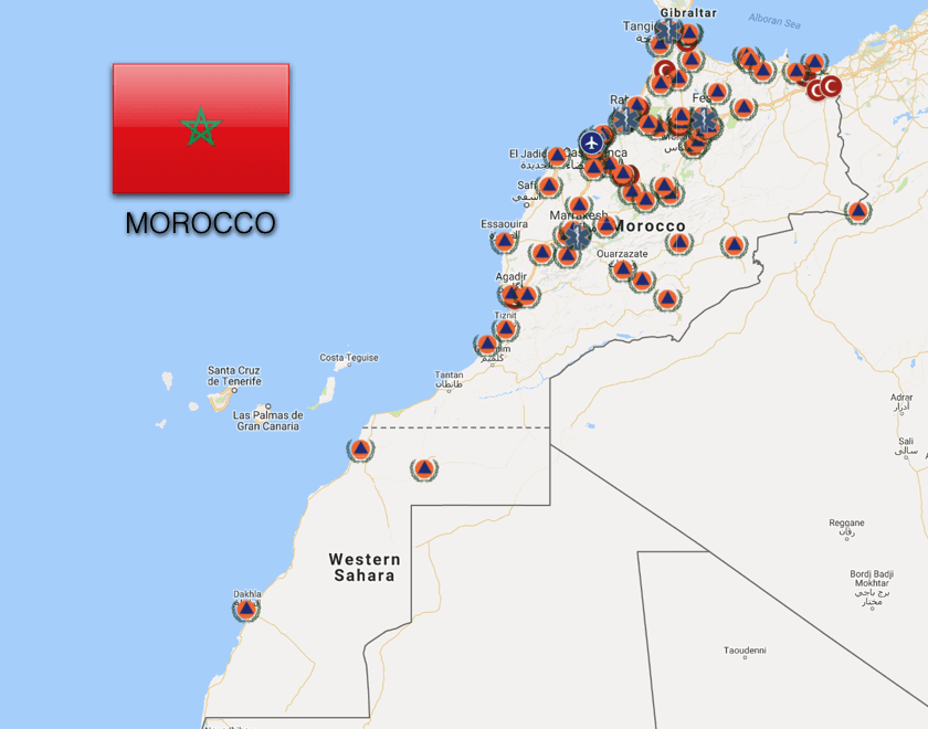 Dial 141 or 15 to call an ambulance in Morocco