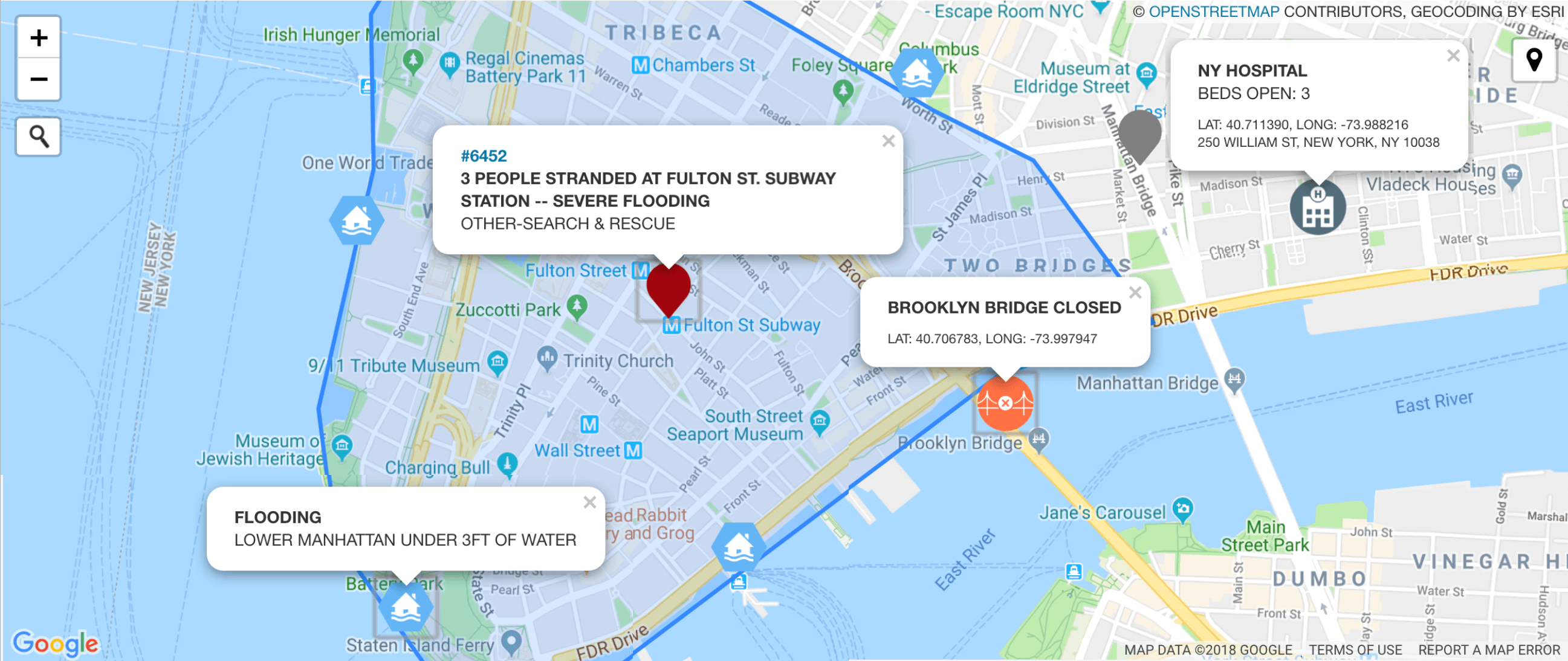 Beacon Emergency Dispatch Map NYC Flooding