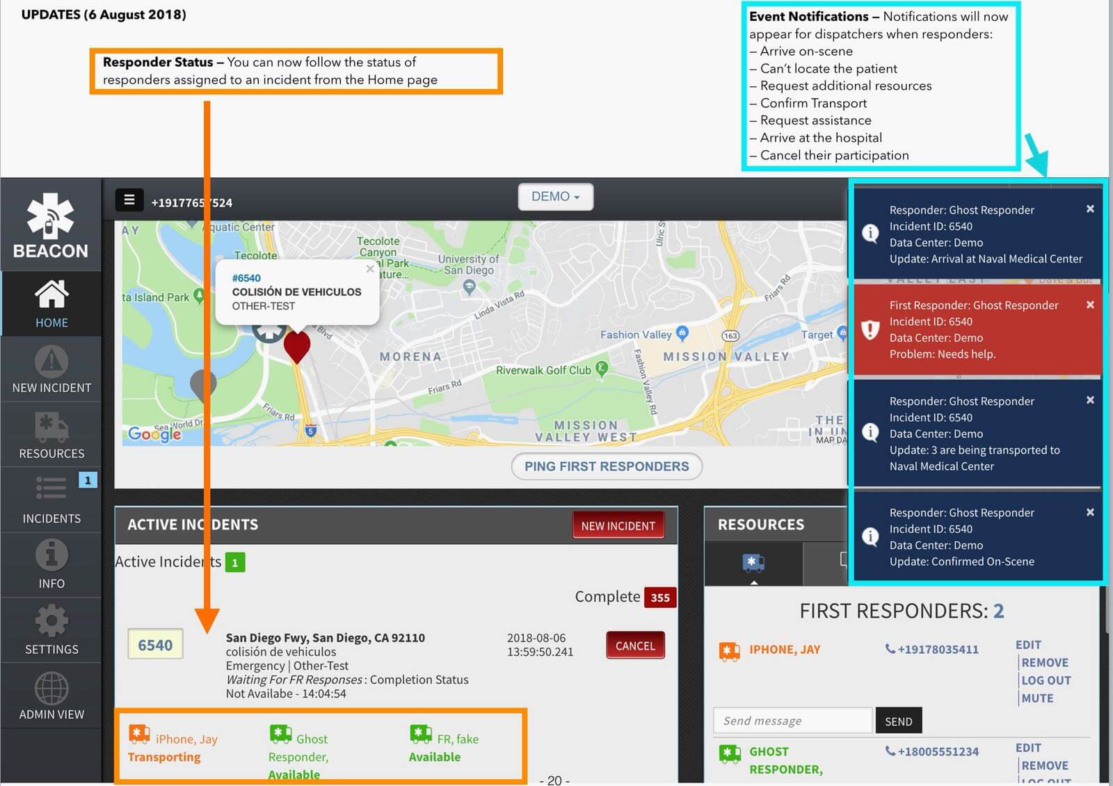 beacon emergency dispatch updates frontend v3.1