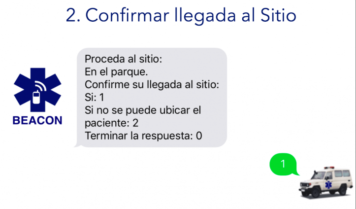 Plataforma de Despacho de Emergencia Beacon - Confirmar Llegada al Sitio