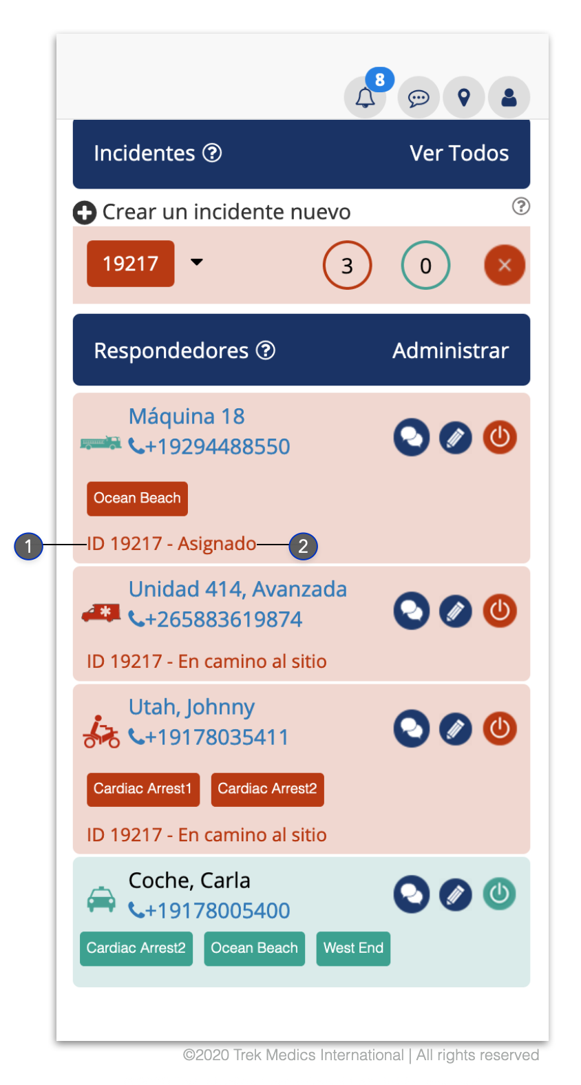 Ficha Respondedores - Despacho de Emergencia Beacon
