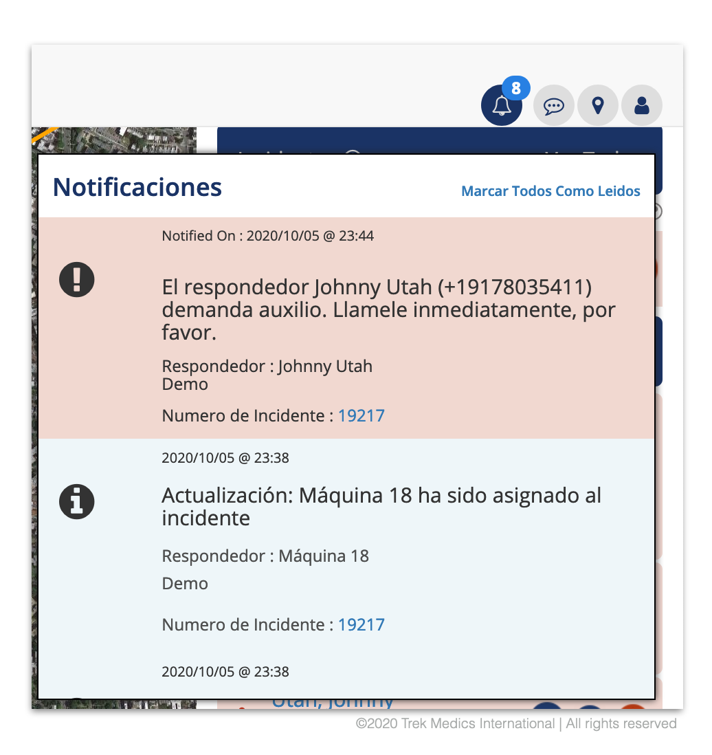 Notificaciones Principales - Despacho de Emergencia Beacon