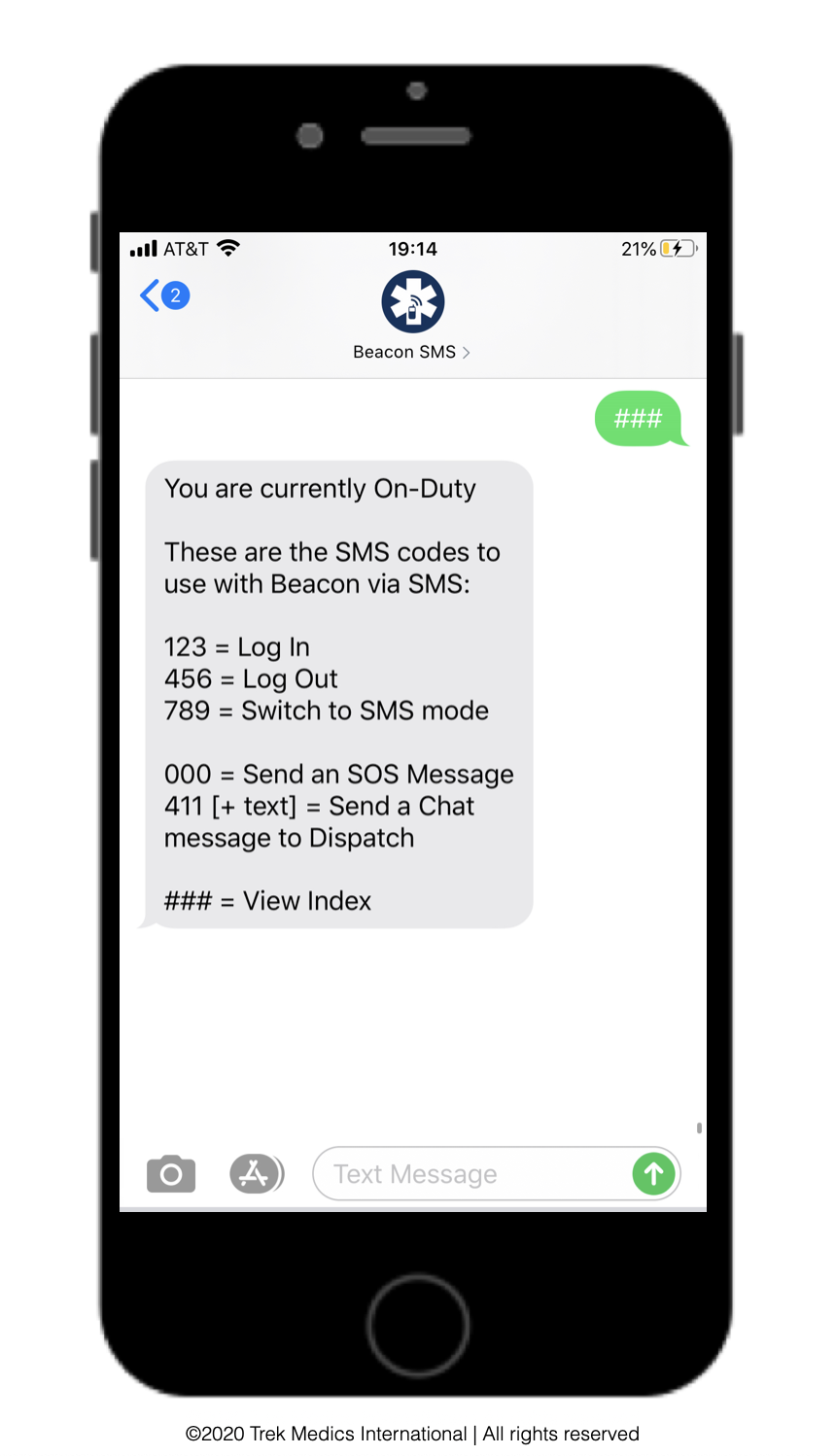 Index Message for Beacon Responders using SMS_Beacon Emergency Dispatch Platform