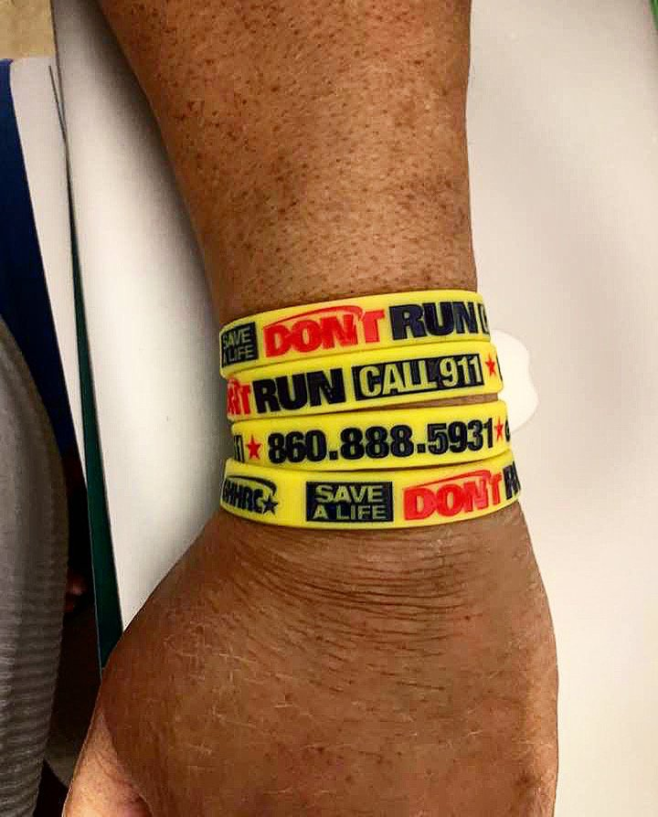 Greater Hartford Harm Reduction Coalition_Don't Run Call 911 Bracelets